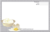 Eggs Black Gingham Recipe Card