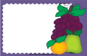 Pear Orange Grapes Purple recipe card