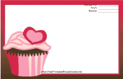 Pink Heart Cupcake Red Recipe Card